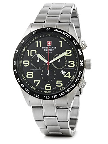 Swiss Alpine Military by Grovana Orologio da uomo Chrono 10 ATM Black 7047.9137sam