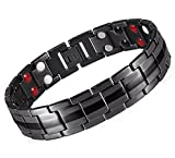 Starista Jewelry Pure Titanium Double Row Bracelet Power Wristband for Men (Black)