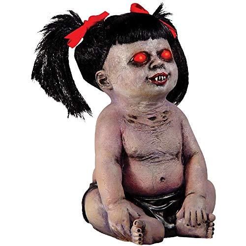 MQQ ハロウィン怖い赤目赤ちゃん泣いているデモニカアンデッドゾンビ女の赤ちゃん悪魔人形ホラープロップ主導の目