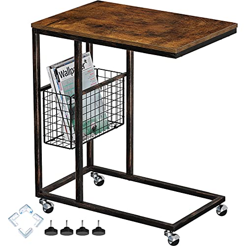 Rolanstar Side Table with Storage Basket, End Table with Rolling Wheels, Narrow C Shaped Table for Living Room, Bedroom, and Small Spaces Rustic Brown
