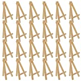 U.S. Art Supply 5' Mini Natural Wood Display Easel (Pack of 24), A-Frame Artist Painting Party Tripod Easel - Tabletop Holder Stand for Small Canvases, Kids Crafts, Business Cards, Signs, Photos, Gift