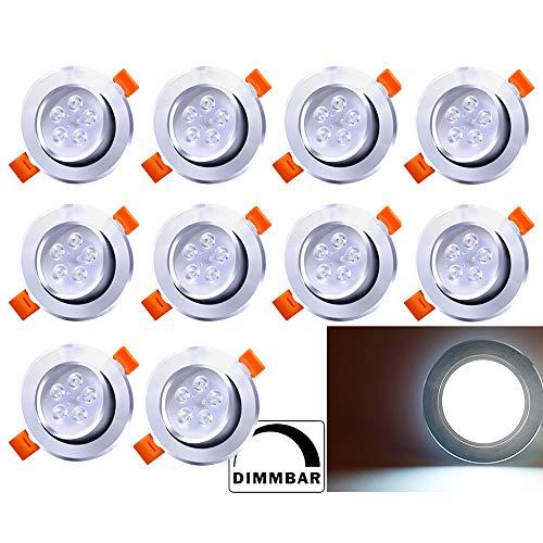 Hengda 10X LED Einbaustrahler 5W 230V Dimmbar Einbauleuchte Kaltweiß 6500K LED Deckenstrahler Wohnzimmer Deckeneinbauleuchte Schlafzimmer Deckenleuchte