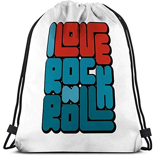 Gym Trekkoord Tassen Sackpack Rock N Roll Typografie Concept Vintage Stijl Print Productie Sjabloon Banner Sticker