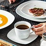 MALACASA, Serie Elisa, 60 TLG. Set Tafelservice Porzellan Kombiservice mit 12 Kaffeetassen, 12 Untertassen, 12 Dessertteller, 12 Suppenteller und 12 Essteller - 4