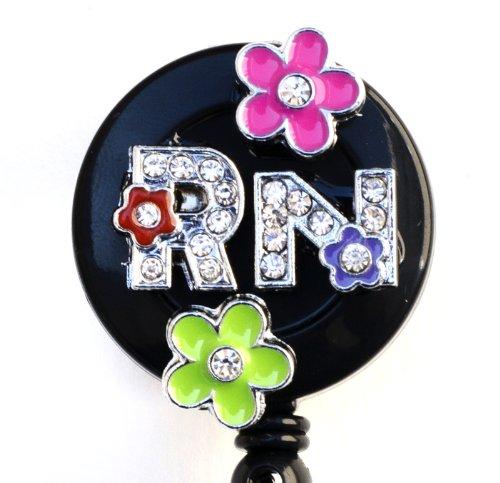 3D Colorful Flower RN Logo Nurse Rhinestone Retractable Badge Reel/ID Badge Holder