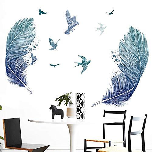 Pdrui Wandsticker,Einfache Feder Wandaufkleber, Kunst Aufkleber, Dekorative Wand, Zimmer Selbstklebende Wandtattoo Aufkleber 60 cm * 90 cm