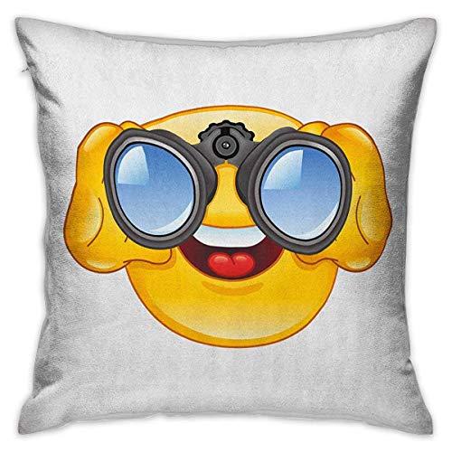 Fundas de almohada cuadradas Emoji con cremallera Carita sonriente con telescopio Binoculares Gafas Mirar el exterior Impresión de dibujos animados Fundas de cojín amarillas y azules Fundas de almohad