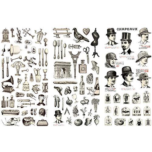 Kanggest. 3 Hojas Pegatinas para Diario y DIY Decoración para Scrapbooking Memo Ornamento Herramienta de Pasta de Material de Ilustración de Libro de Teléfono Móvil(Vajilla)