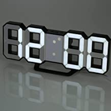 Aookay LED Digital Alarm Clock for Desk/Shelf/Tabletop, Modern Home Decoration 3D Wall Clock, Easy to Read at Night, Loud ...
