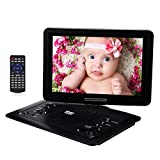 YOOHOO 16.9'' Portable DVD Player for Car with 14.1'' 270°Swivel High Definition LCD Screen,6 Hours Rechargeable Battery,Supports SD Card/USB/CD/DVD (Black)