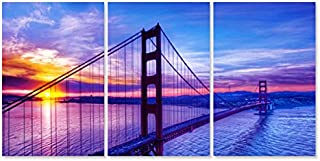 3 Pieces Modern Canvas Painting Wall Art Picture Famous Golden Gate Bridge Sunrise San Francisco Cityscape Beautiful Landscape Giclee Print Artwork for Living Room Decor (Framed 16x24inchx3pcs)