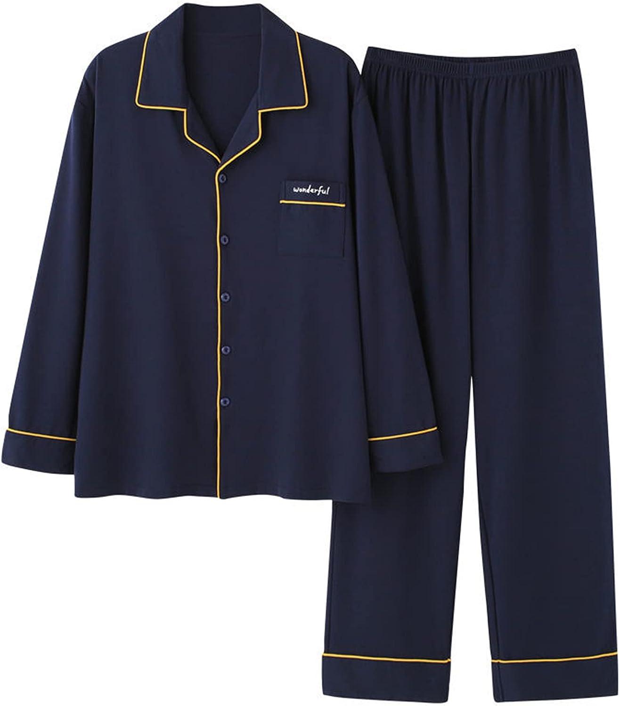 PULANNITE Men's Pajama Set Long Sleeve Cotton Lightweight Sleepwear Button Down