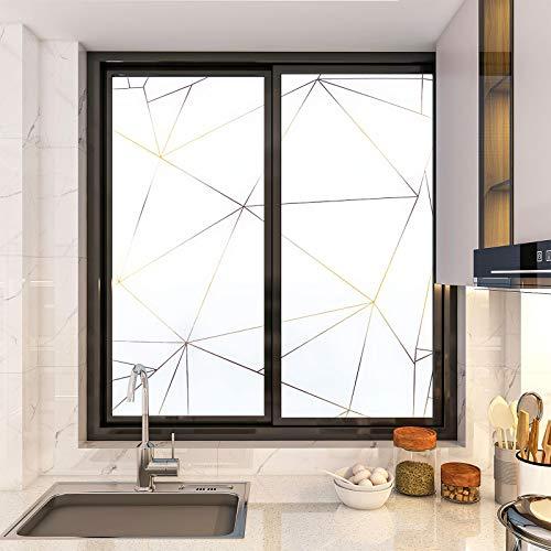 KINLO Fensterfolie Statisch Haftend Sichtschutzfolie Streifen Glasdekorfolie 90x200cm Privatsphaere Selbstklebend Klebefolie PVC Anti UV sichtschutz Fenstersticker Fenster Folie(Weiß)