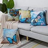 Artscope - Set di 4 federe decorative 45 x 45 cm, in microfibra di poliestere di alta qualità, per divano, auto, camera da letto, decorazione della casa (farfalla blu)