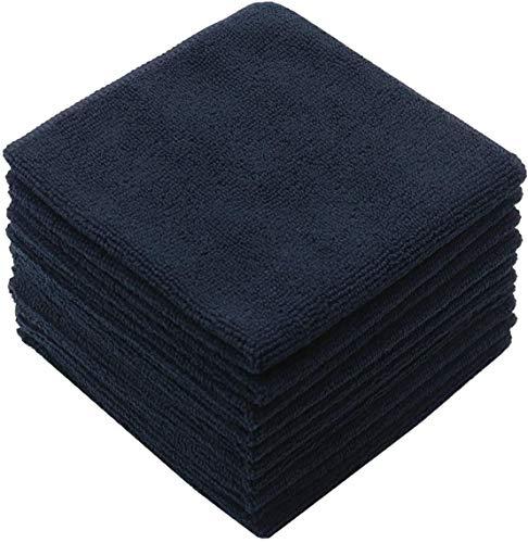 HIDMD Mikrofasertücher Geschirrtücher Haushalts handtücher Super saugfähig Mikrofaser Reinigungstücher Geschirrtücher Mehrzweck 30cm x 30cm 10 Stück (Schwarz x10, 30cmx30cm)