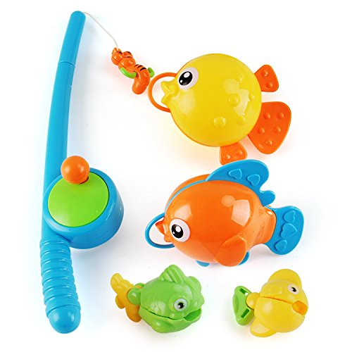 Liberty Imports Rod and Reel Fishing Fun Bathtub Bath Toy Set for Kids with Fish and Fishing Pole