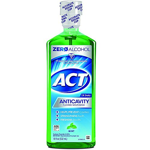 ACT Anticavity Fluoride Mouthwash, Mint, Alcohol Free, 18-Ounce Bottle (Pack of 3)