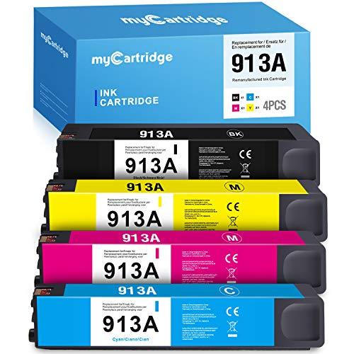MyCartridge 4 Kompatibel HP 913A 913 Multipack Druckerpatronen für HP PageWide Pro MFP 377dw 377dn 477dw 477dn 477dw 452dn 452dw 452dwt 352dw Drucker Patronen (Schwarz/Cyan/Magenta/Gelb)
