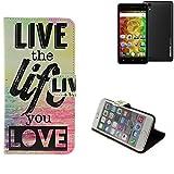 K-S-Trade Schutzhülle Für Medion Life E5001 Schutz Hülle 360° Wallet Hülle ''live Life Love'' Schutzhülle Handy Tasche Handyhülle Etui Smartphone Flip Cover Standfunktion (1x)