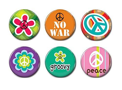 6 Stück 6–25 mm Button-Abzeichen, Peace-Abzeichen, Peace-Zeichen, Kühlschrank-Magnete, Abzeichen, Pin Back Button, Pin Back Button 4
