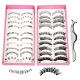 Teenitor Anime Eyelashes, 20 Pair 20 Desgin Japanese Cosplay Eyelash Fake False Upper Lower Eyelash Lower Lashes False Eyelashes With Eyelashes Applicator Tool(10 Pair Upper + 10 Pair Lower)