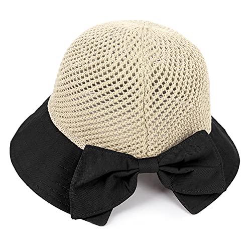 K·K Cappelli alla Pescatora Donna, Cappelli da Sole Pieghevole Cappello Parasole di Paglia da Donna Elegante Cappello Tesa Larga da Sole Estate per l'Estate Viaggio e la Spiaggia Vacanze (Nero)