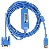 Jadpes Cable de programación PLC, 1pc Cable de programación PLC de 3 Metros para PLC Omron Serie CQM1H/CPM2C Azul para Cable de programación USB Omron