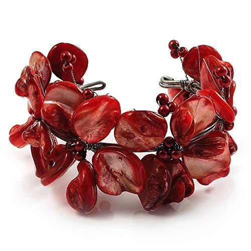 Avalaya - Bracciale a polsino con perle artificiali e corallo rosso (argentato)
