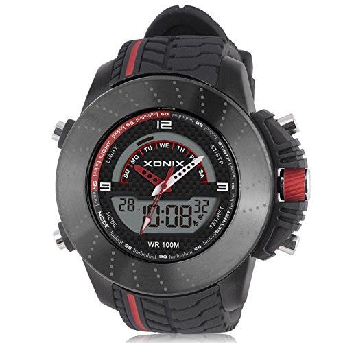 Muchacho de Racing Reloj electrónico Digital multifunción, Fresco m 100 led Impermeable Doble Pantalla Hora Dual cronómetro Alarma Deportes al Aire Libre Reloj de Pulsera-B