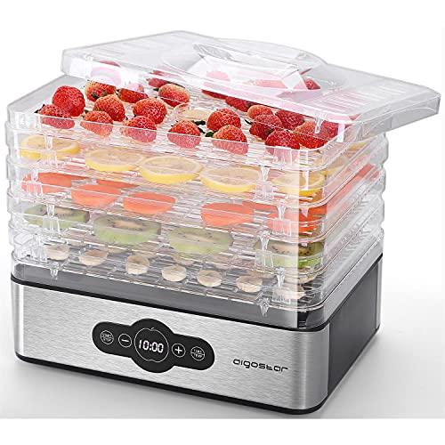 Aigostar Crispy - Essiccatore alimentare, 240W, 5 vassoi, essiccatura automatica, ottimo per frutta, carne, verdura ecc. controlli digitali, impostazione manuale di tempo e temperatura. Senza BPA.