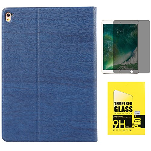 Fantastic Deal! Navy Blue Wood Grain Ultra Slim Protective Folio Case with Built-in Multi Angle Stan...