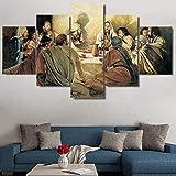 Decoración del hogar, carteles, marco, sala de estar, 5 paneles, última cena, cuadro modular, arte d...