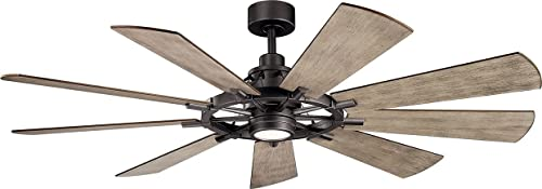 """discount Kichler 300265AVI Gentry new arrival 65"""" Ceiling Fan with LED Lights and Wall Control, Anvil outlet online sale Iron online"""