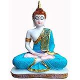 Vinayak Creations Sitting Buddha Idol Statue Showpiece- White and Blue 24 cm