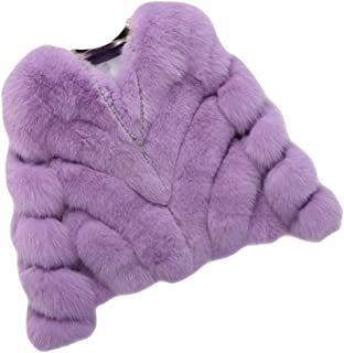 Dawwoti Women's Faux Fur Short Overcoat Wool Long Sleeve Casual Chunky Cardigan Tops for Christmas Party