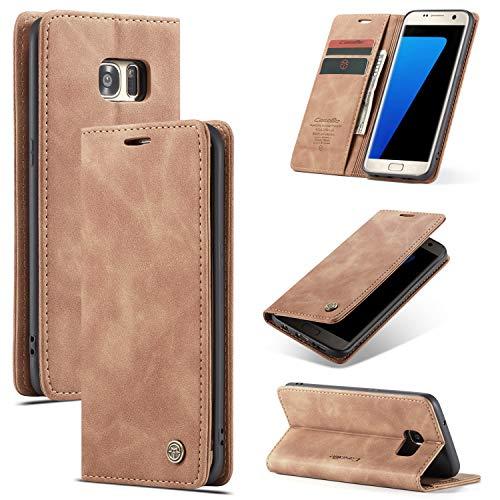 AKC Funda Compatible para Samsung Galaxy S7 Edge Carcasa con Flip Case Cover Cuero Magnético Plegable Carter Soporte Prueba de Golpes Caso-Marrón