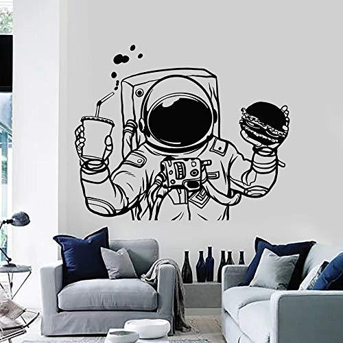 Spaceman Wall Decal Astronaut Space Burger Drink Etiqueta de vinilo de comida rápida
