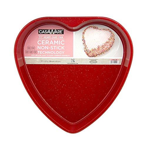 casaWare Ceramic Coated NonStick 11-Inch Heart Pan Red Granite
