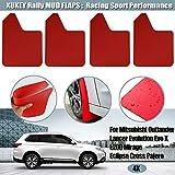 Para Lancer Evolution EVO X 4 5 6 7 8 9 Outlander Sport Pajero Montero Triton Splash Guards W/Clips, Aletas de barro rojo Aletas de barro Protectores contra salpicaduras Guardabarros con clips