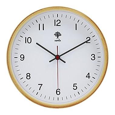 HIPPIH Silent Wall Clock - 8 Inch Non Ticking Digital Quiet Sweep Decorative Vintage Wooden Clocks, White