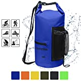 Waterproof Dry Bag-10L/20L/30L Roll Top Compression Sack with shoulder straps and Front Zippered Pocket Keeps Gear Dry for Boating, Camping, Kayaking, Fishing,Swimming and Hiking Black/20L