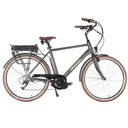 Onway 28 inch heren E-bike, nauwkeurige Shimano 7 versnellingen, Bafang 250 W centrifugaalmotor, 36 V 10.4 Ah Sanyo lithium-accu, 5 ondersteuningsniveaus, LCD-modus display