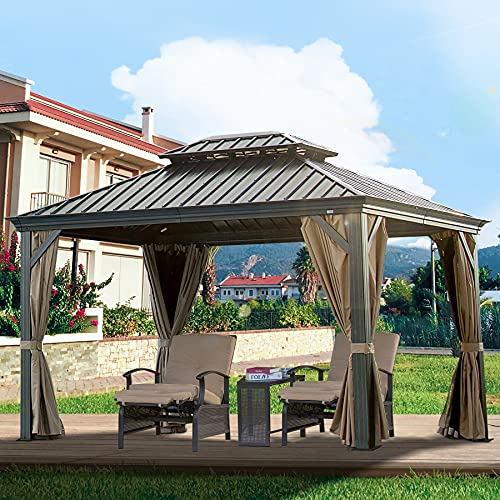 10x12 ft Outdoor Gazebo Hardtop Patio Gazebos Double Roof Permanent Canopy Privacy Curtains Aluminum...