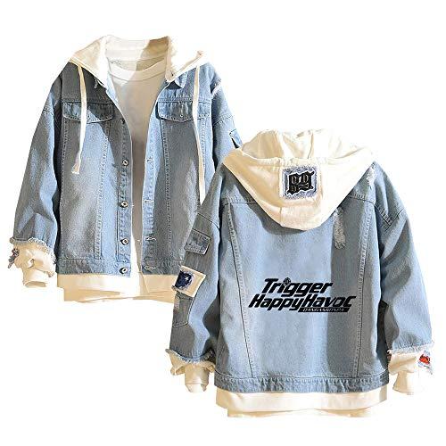 Vhunkjnr Danganronpa Pullover Jeansjacke Studenten Personality Trendy 2-In-1 Kapuzenjacke Herren-Oberbekleidung mit Print Coat Unisex (Color : Blue07, Size : Height-175cm (Tag L))