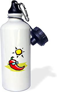 3dRose wb_175663_1 Red Pepper sunglasses sun on beach Sports Water Bottle,  21 oz,  Multicolored