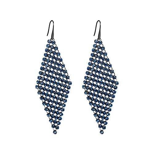 Pendientes de cristal azul y plata, diamantes de imitación geométricos hermosa gota de cristal austriaco de Swarovske declaración pendientes negro