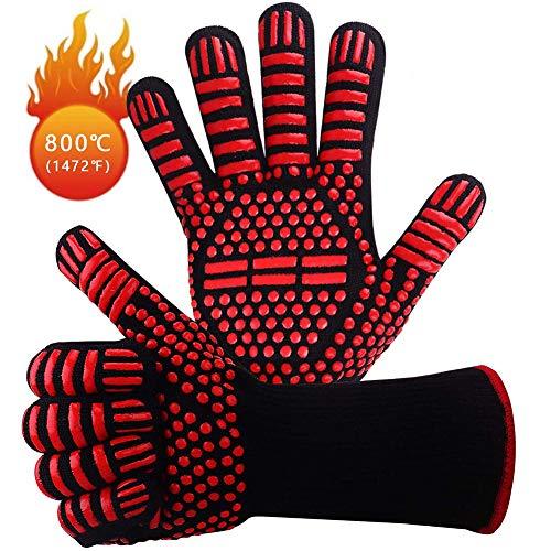 1 paire barbecue couche de protection int/érieure en coton pour griller cuisine Orange Paire de gants de cuisine en silicone r/ésistant /à la chaleur maniques antid/érapantes