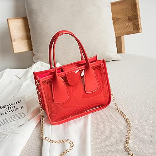 Bolso transparente de gelatina de tendencia de moda para mujer, bolso cruzado sólido de PVC, PU, cuero, cremallera, bolsos compuestos, cadena, bolso con correa para el hombro, rojo