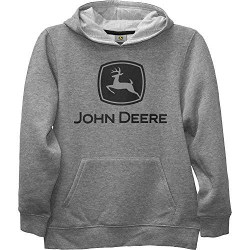 John Deere Jungen Youth Fleece Pullover Hoodie Kapuzenpulli, grau, Large (16) US