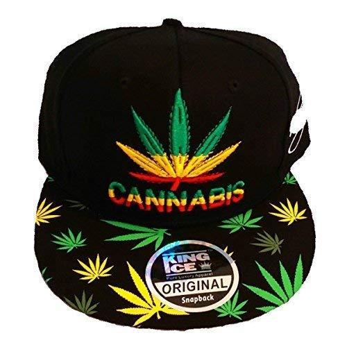 King Ice Cannabis Marijuana Herbe leaf Plat Visière Snapback Couvercles, Super Star Peau de serpent Hanche Saut Bling Mixte Chapeaux - CANNABIS, Taill